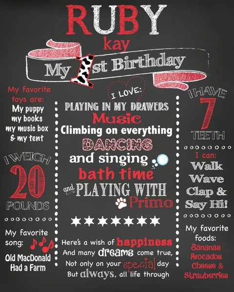 Image of Cowgirl Birthday Chalkboard- western, bandana, red, white, cowboy, cow spots