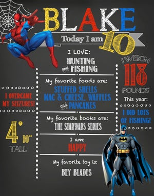 Image of Superhero Birthday Chalkboard- heroes, spiderman, the hulk, ironman, captain america, batman, red