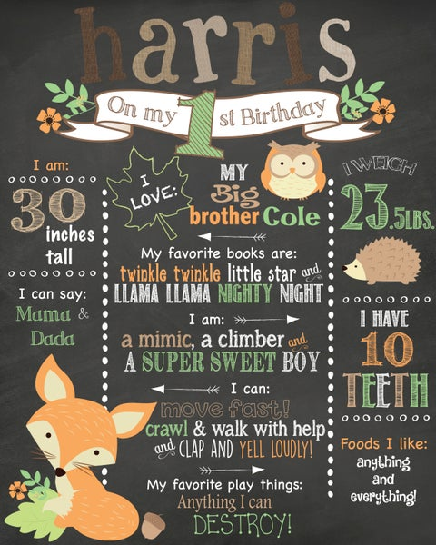 Image of Woodland Creatures Birthday Chalkboard- forrest animals, fox, owl, hedgehog, burlap. tan, sage
