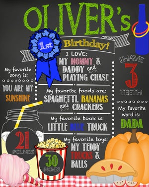Image of Country Fair Picnic themed Birthday Chalkboard- blue ribbon, watermelon, lemonade, pie, carnival