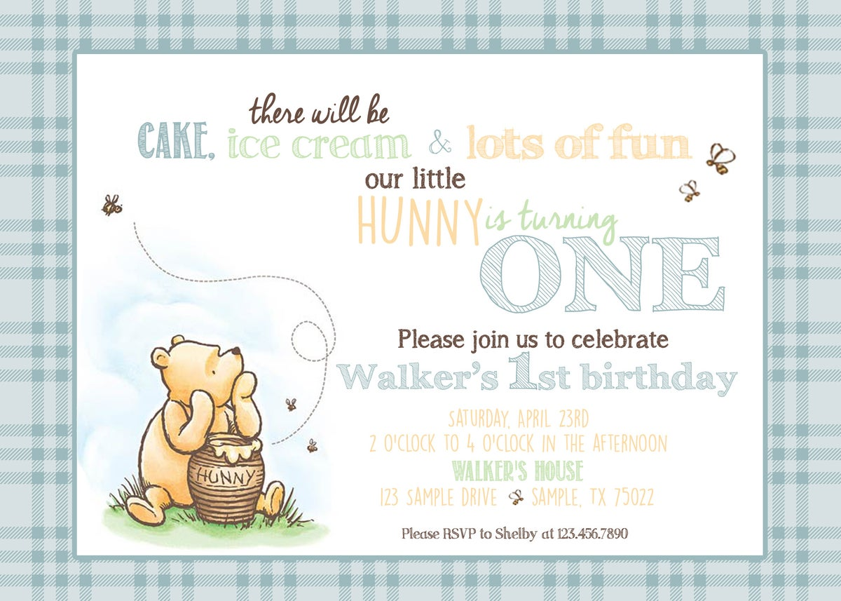 Paperfoxprints Classic Winnie The Pooh Birthday