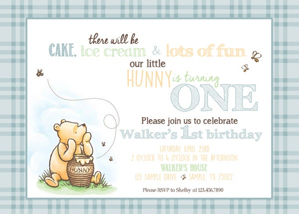 Image of Classic Winnie the Pooh Birthday invitation- Pooh, vintage, bear, Hunny, bees, mint, blue, yellow