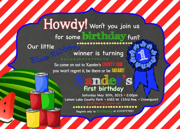 Image of Country Fair Birthday Invitation- chalkboard, carnival, watermelon, blue ribbon, picnic, red, green