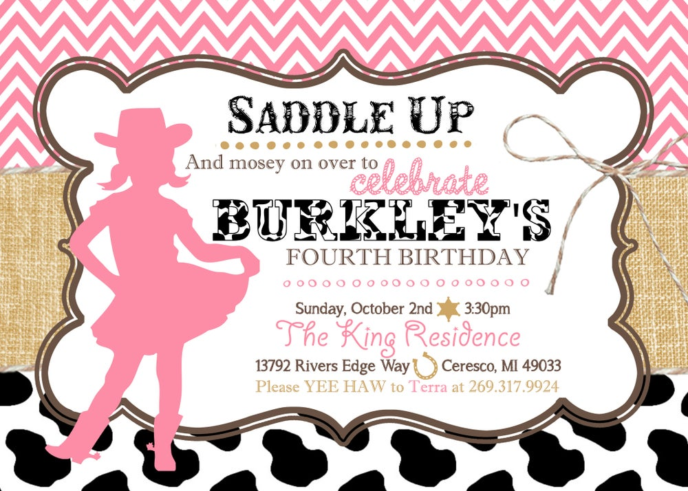 Image of Cowgirl Birthday Invitation- pink, chevron, cow spots, burlap, twine, black, tan, star, horse shoe