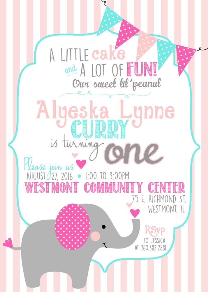 Image of Little Elephant Birthday Invitation- elephant, pink, gray, teal, hearts, stripes
