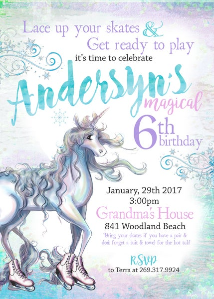 Image of Ice Skating Unicorn Birthday invitation-  ice skating, unicorn, pastels, watercolor, sparkle, magic