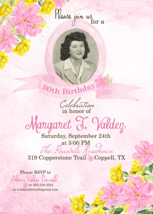 Image of 90th Birthday Invitation- floral, watercolor, flowers, lavender, pink, yellow, sage