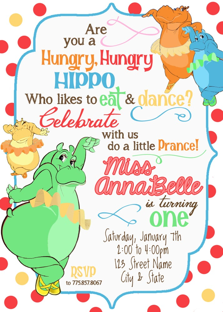 Image of Hungry Hippo Birthday Invitation- hippos, tutus, dancing, ballet, board game