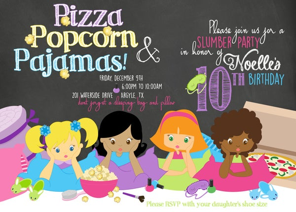 Image of Slumber Party Birthday Invitation- chalkboard, sleep-over, popcorn, pizza, movie, pigtails, girls