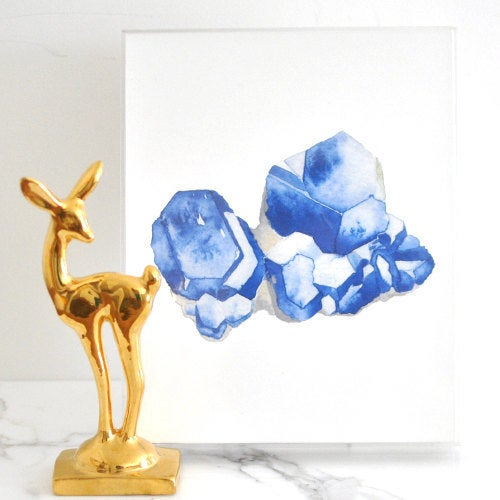 Image of Vintau Blue Quartz Watercolor Print