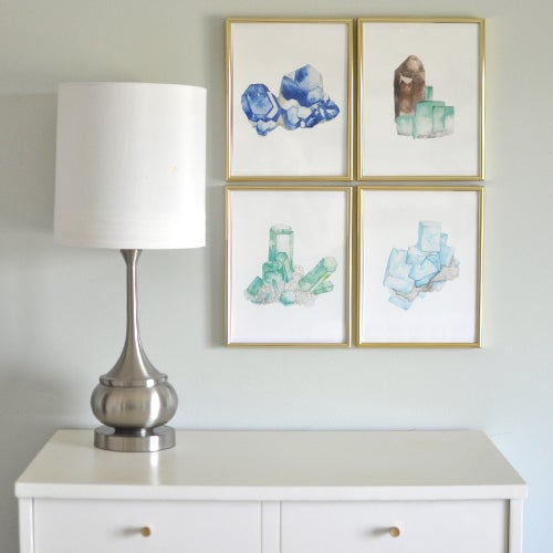 Image of Vintau Green Aquamarine Watercolor Print