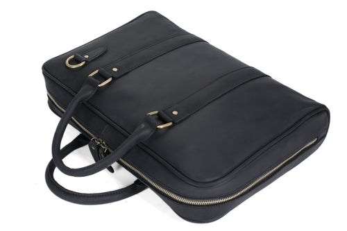 Image of Handmade Black Genuine Leather Briefcase, Messenger Bag, Laptop Bag, Men's Handbag D007