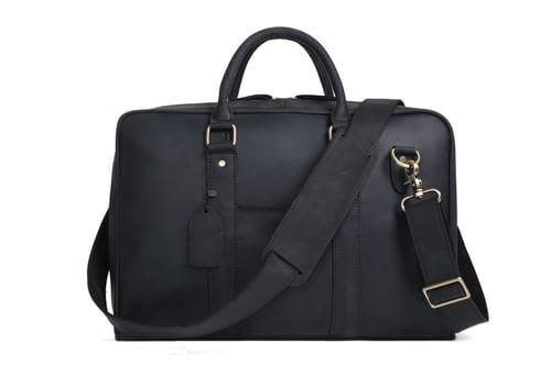 Image of Handmade Black Genuine Leather Briefcase, Messenger Bag, Laptop Bag, Men's Handbag D007