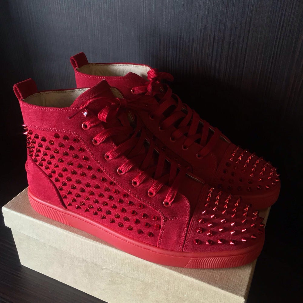 check out 82a1f 3ca9f Suede Christian Louboutin Spiked High Top, Red Bottom Men's Sneakers