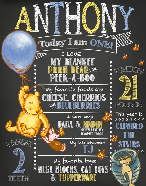Image of Classic Winnie the Pooh themed Birthday Chalkboard- Pooh, bees, balloon, honey, bleu, yellow