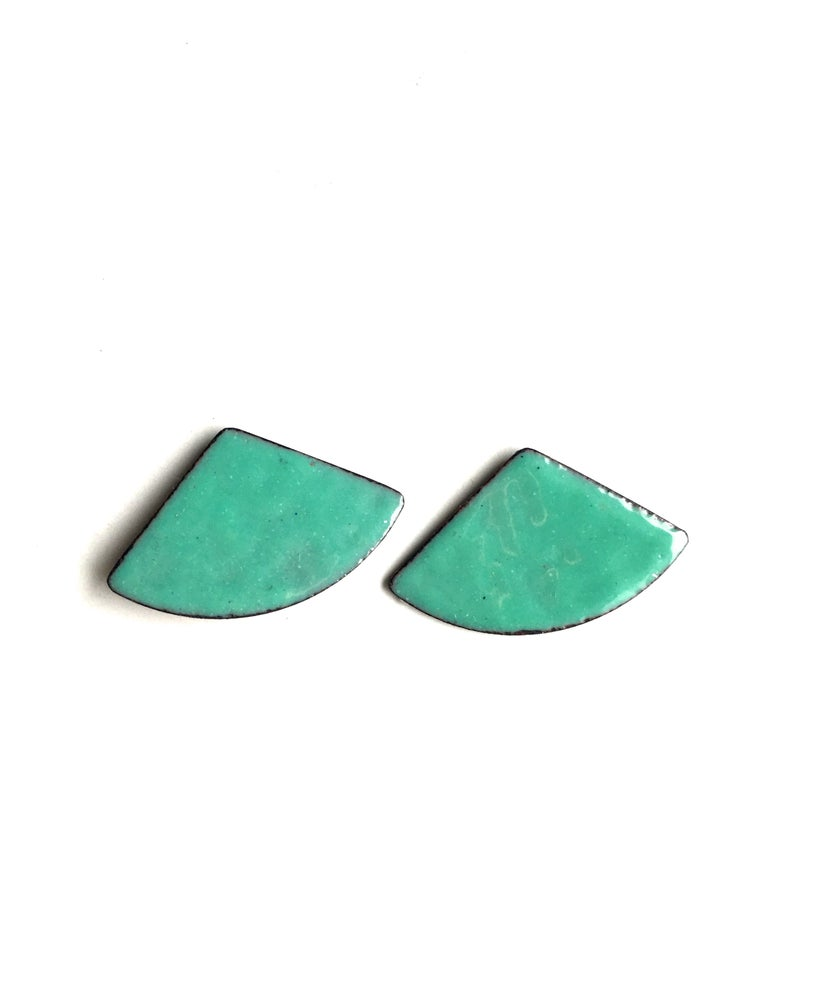 Image of Fan Enamel Earrings