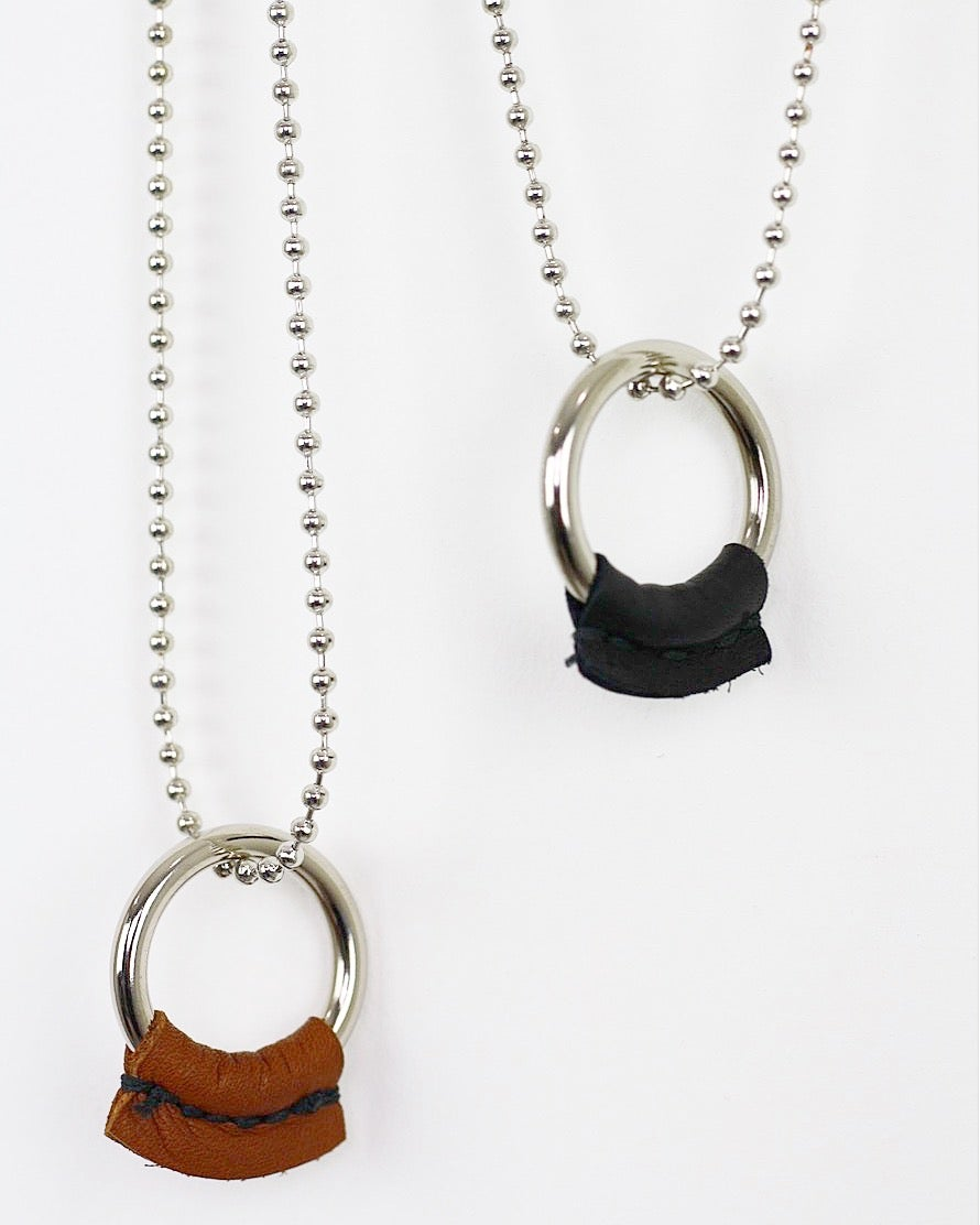 "Image of LUCID777 - DIRT POOR LEATHER ""O"" RING-BALL/CHAIN NECKLACE"