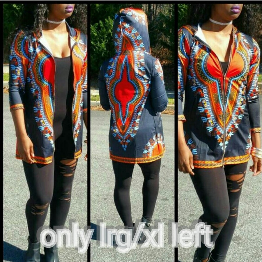 Image of Hooded zip up dashiki jacket