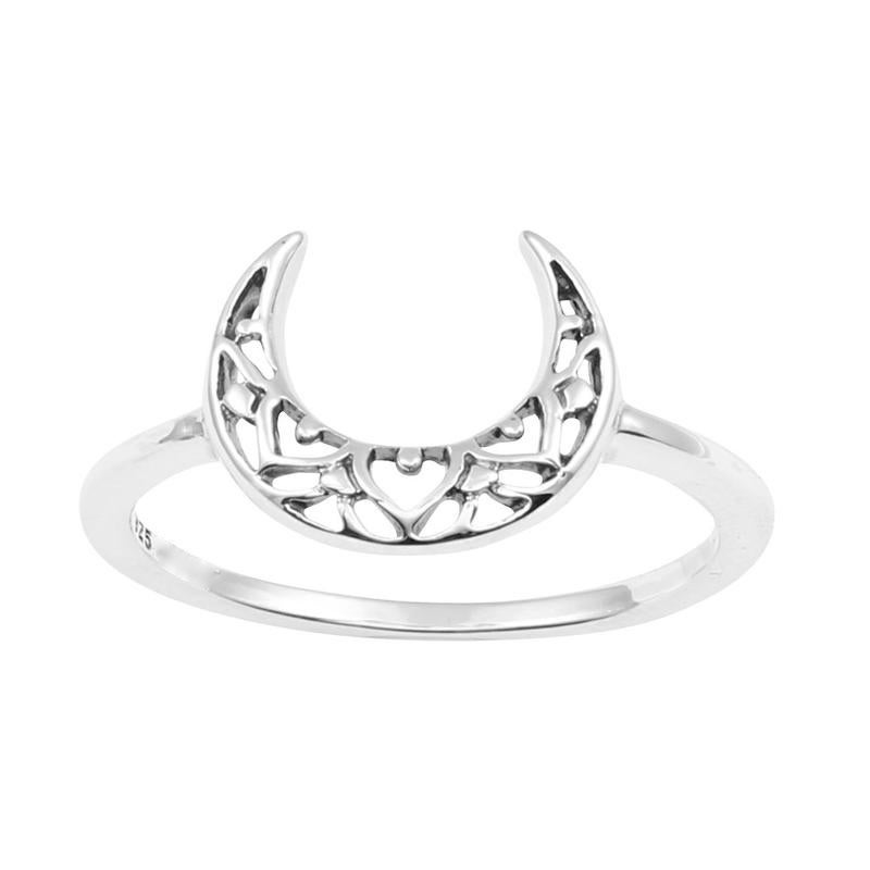 Image of Sterling Silver Mehndi Moon Ring