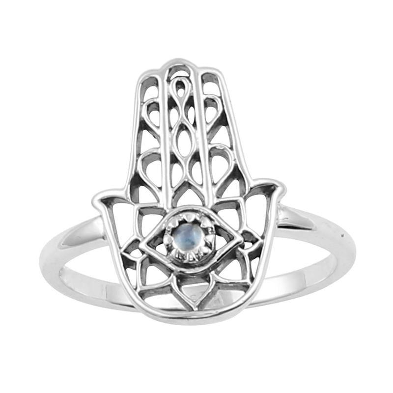 Image of Sterling Silver & Rainbow Moonstone Hamsa Ring