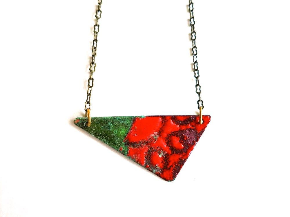Image of Red Enamel and Patina Reversible Necklace
