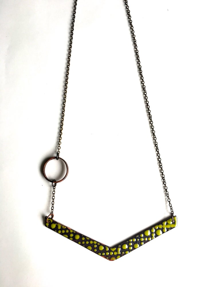 Image of Cream and Chartreuse Enamel Reversible Necklace