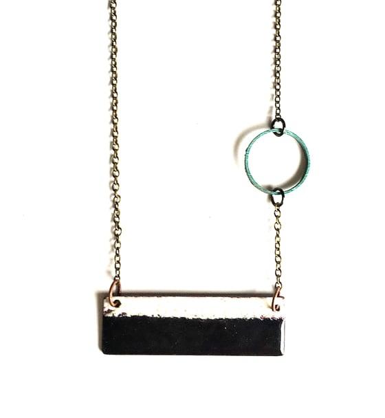Image of Black and White Enamel Reversible Necklace