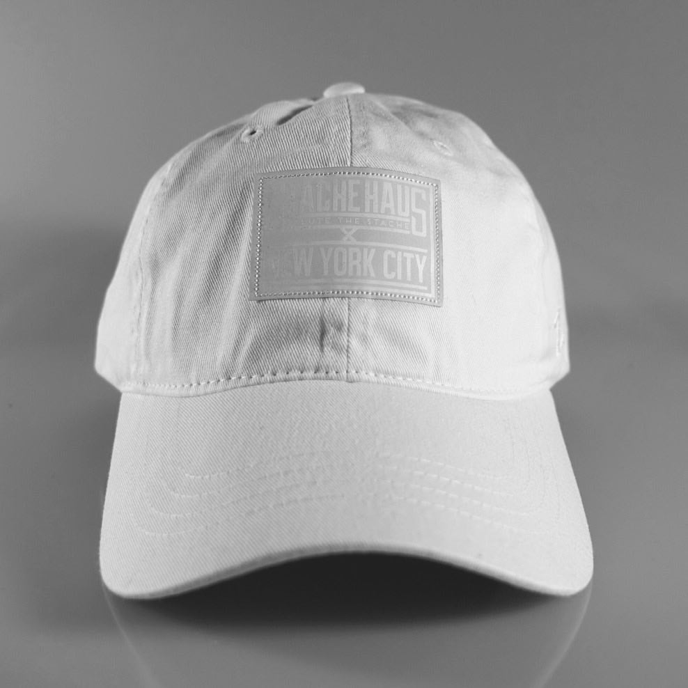 be52d7c9359 Stache Haus — Reflective SH x NYC White Dad Hat