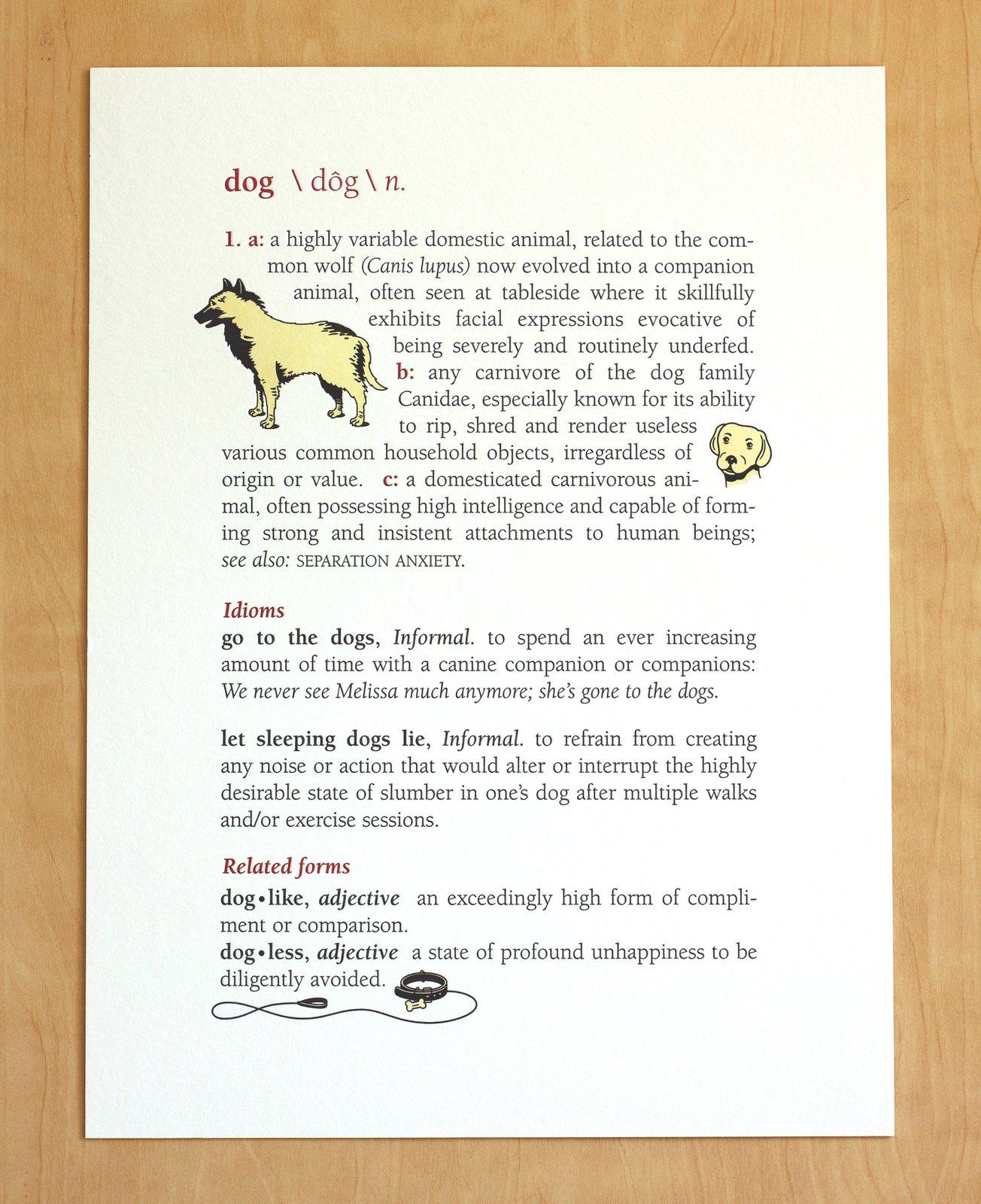 Delightful Image Of DOG: DEFINITION Print