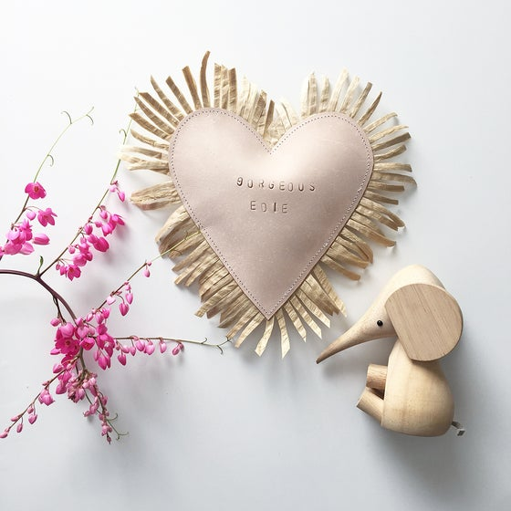 Image of Leather Raffia Personalised Heart