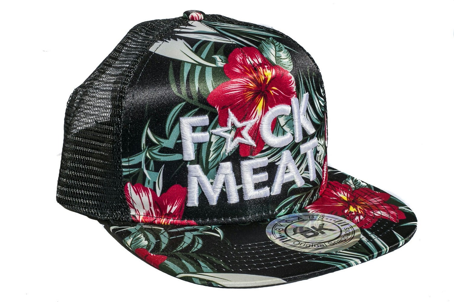 Image of F💥CK MEAT 3D WHITE on FLORAL TRUCKER HAT