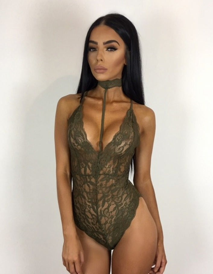 Image of Lei Lace Bodysuit Kaki
