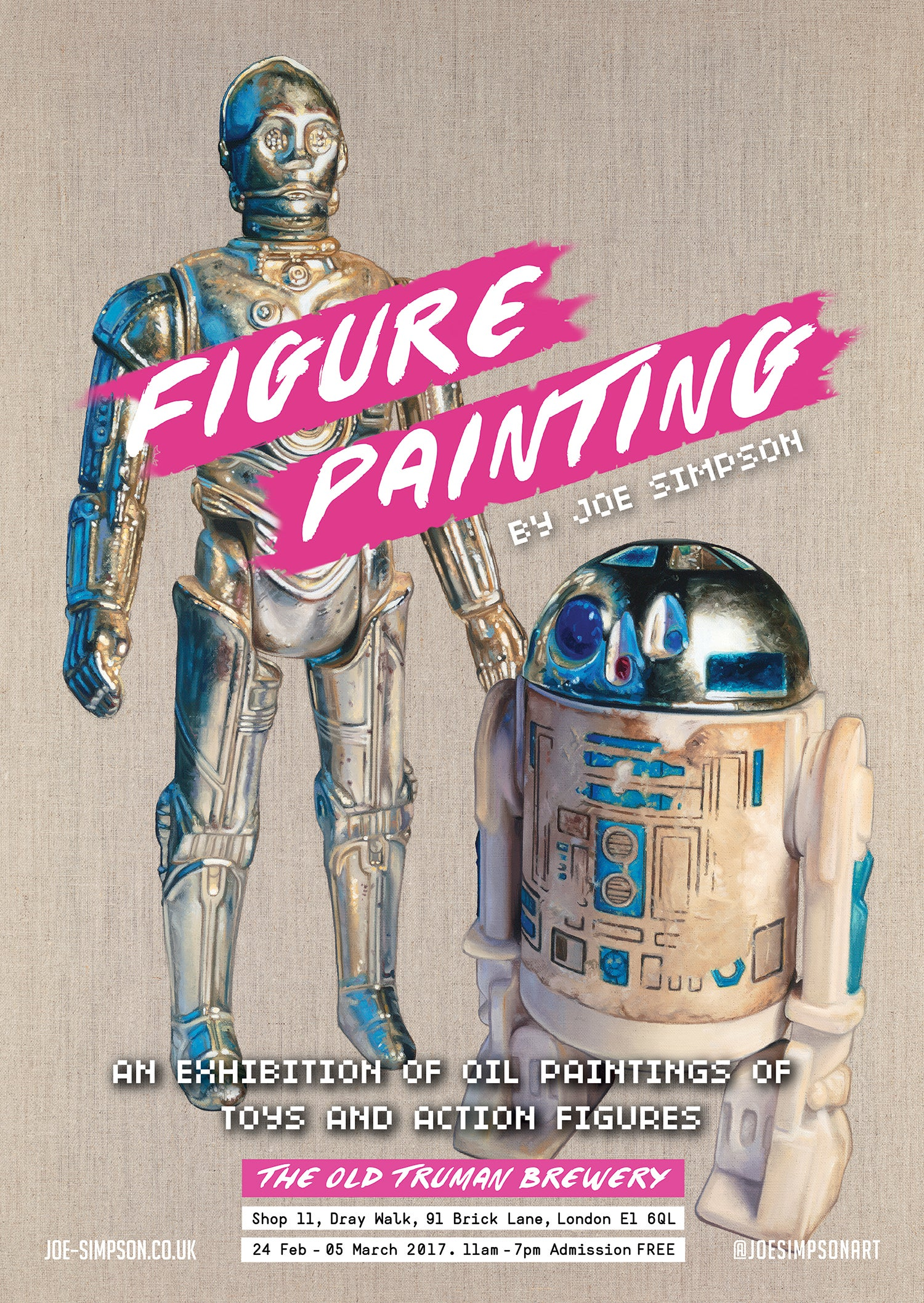 Image of FIGURE PAINTING exhibition poster // C3P0 & R2D2
