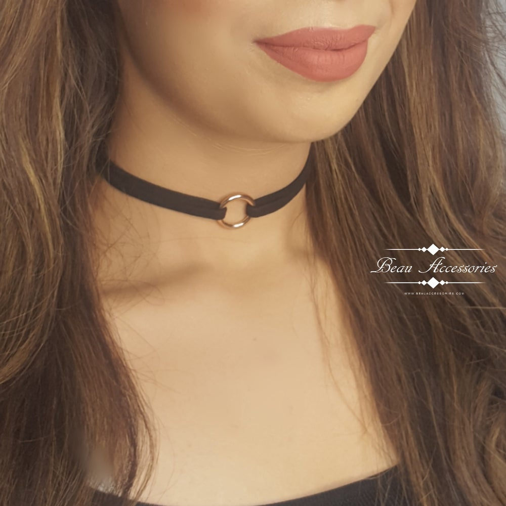 Image of Black & Gold Ring Choker