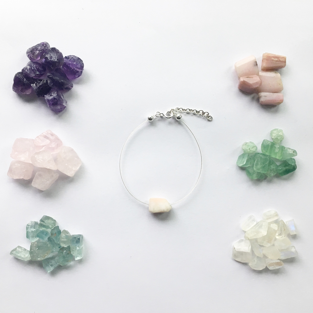 Image of Simple Crystal Bracelet - choose your stone - sterling silver clasp