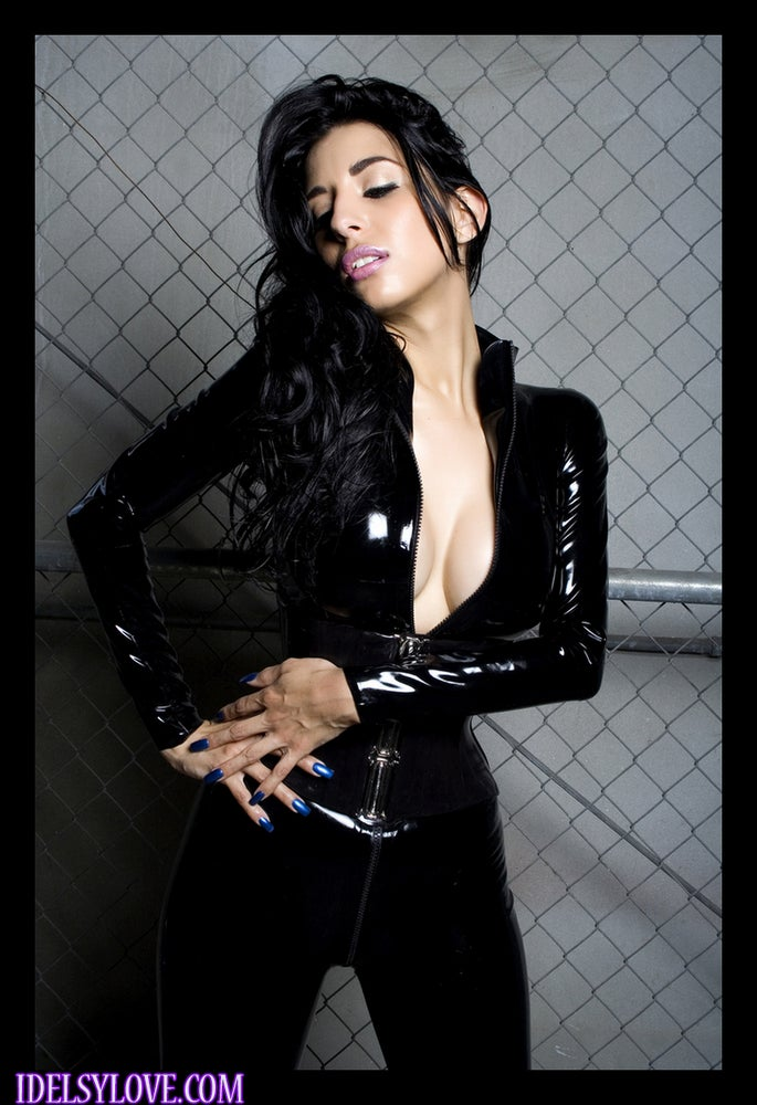 Image of LATEX: RIPPED BLACK CATSUIT
