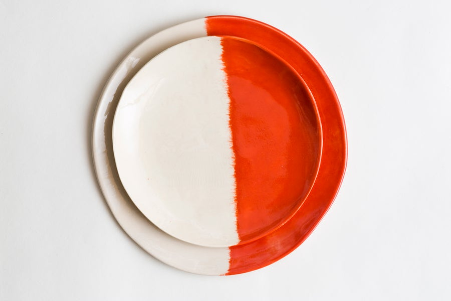Image of Coral Orange Ceramic Dinner & Salad Plate Set