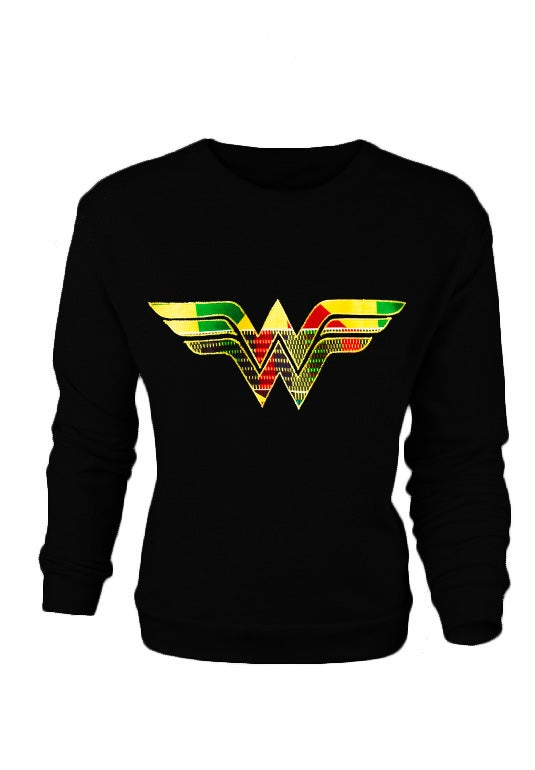 Image of BLACK Afro Wonder Woman Ladies Sweatshirt