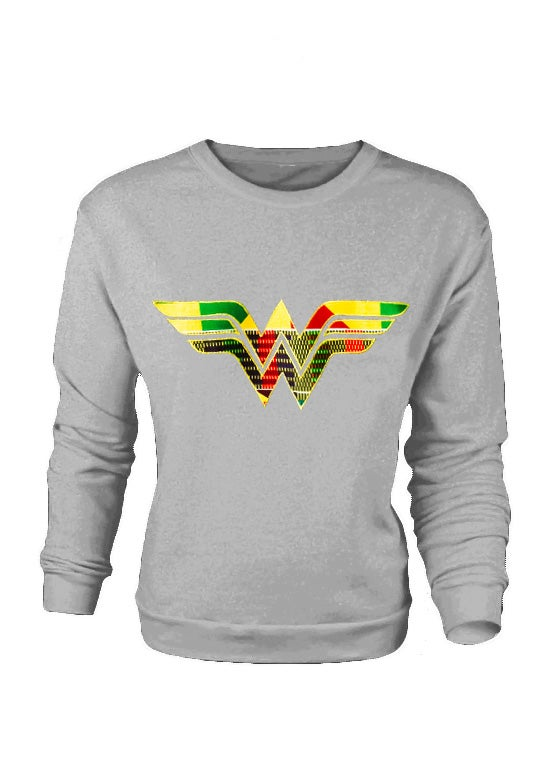 Image of SPORTS GREY Afro Wonder Woman Ladies Sweatshirt