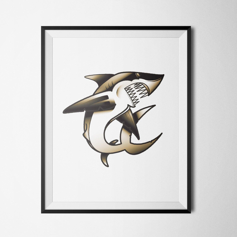 Image of SHARK FLASH - PRINT (BROWN|8.5X11)