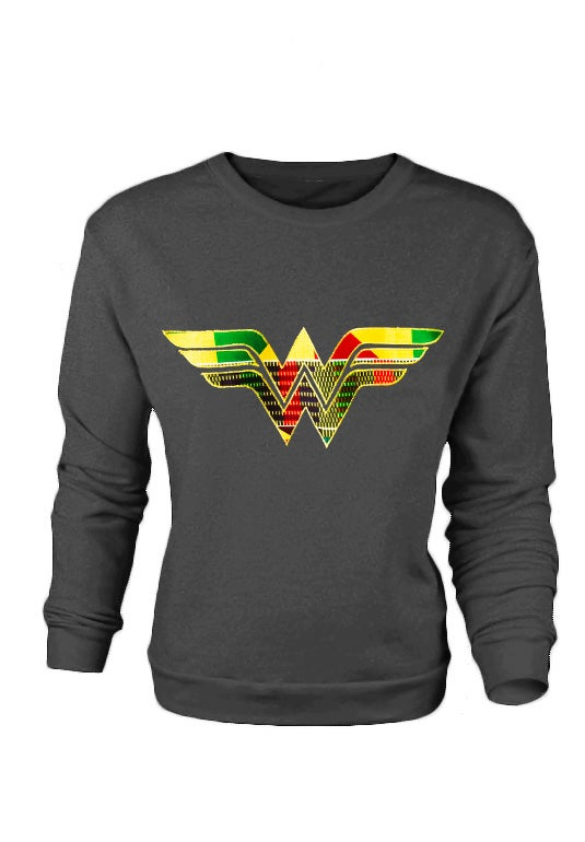 Image of HEATHER GREY Afro Wonder Woman Ladies Sweatshirt