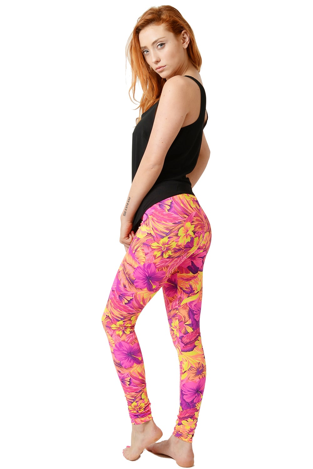 Image of Coral Tropical Print Leggings