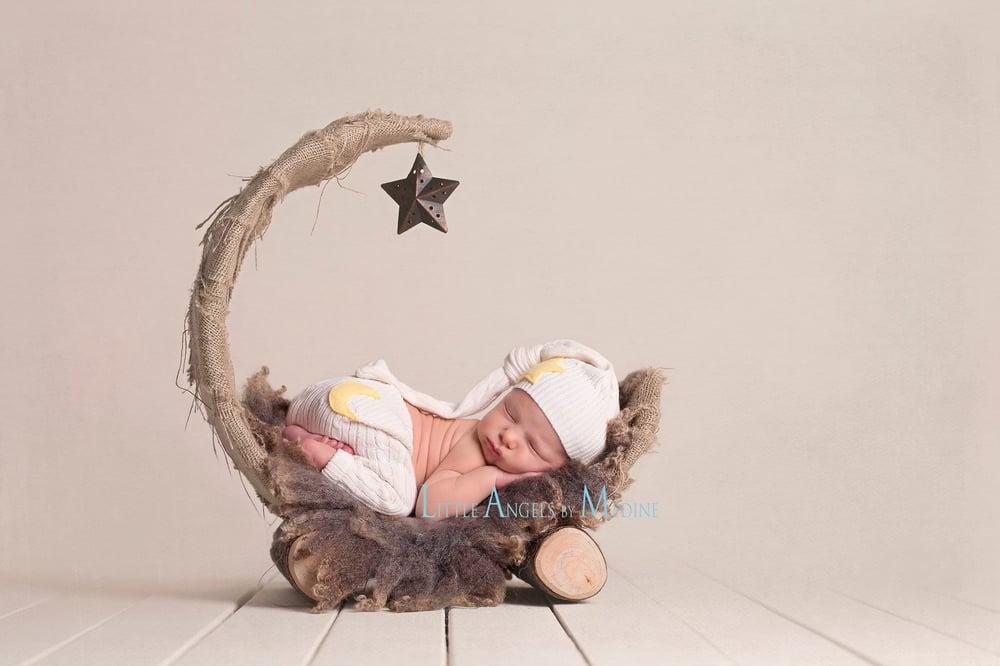 "Image of Natural Tan, Over the Moon! Rustic & Organic Woodsy Wonders, Half Moon, Newborn Baby ""Poser"""