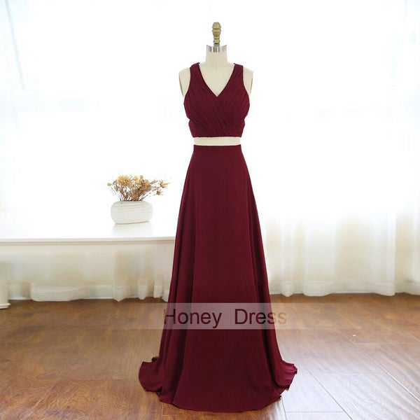 Image of Burgundy V-Neck Two-Piece Ruffles Chiffon Cut Out Long Prom Dress