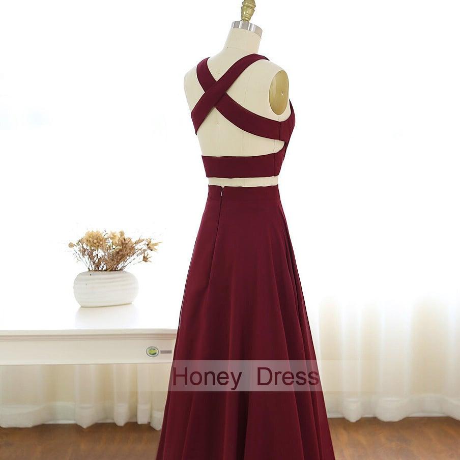 Burgundy Chiffon Long Prom Gowns