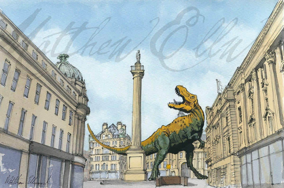 Image of Towering Monster (v) T-Rex at Grey's Monument