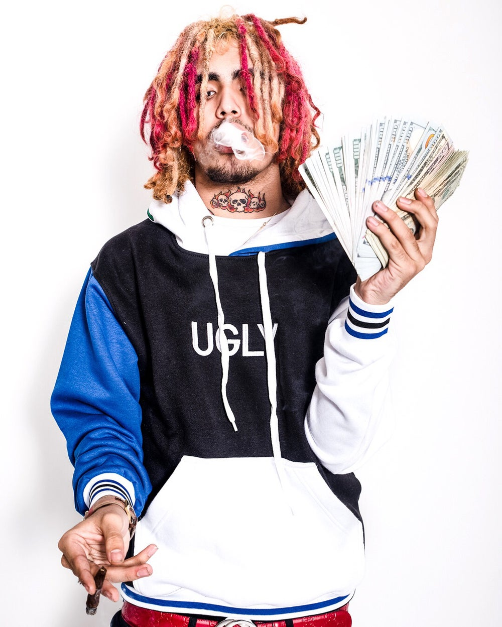 Blue black and white hoodie w blue rose (ft. lil pump)