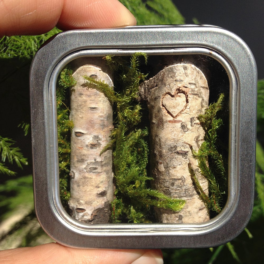 Image of Love Fridge Magnet, Carved Heart Birch Tree
