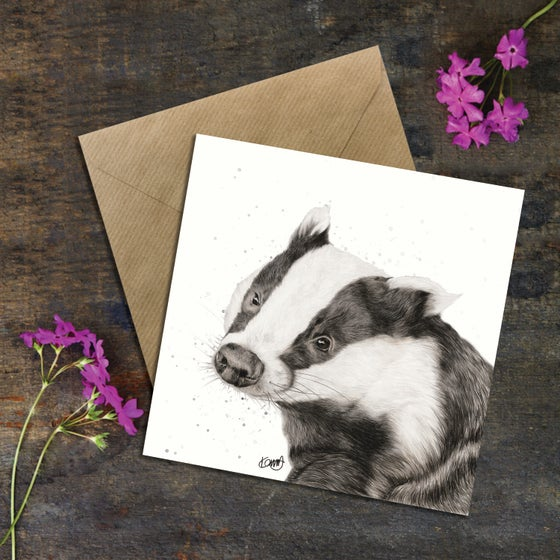 "Image of ""Boris"" The Badger Greeting Card"
