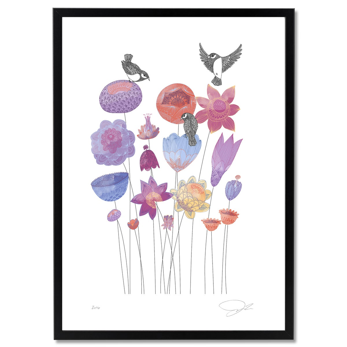 Image of Large Print: Spring Flowers & Birds